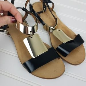 See by Chloe Gold Plate Ankle Wrap Sandals 38.5